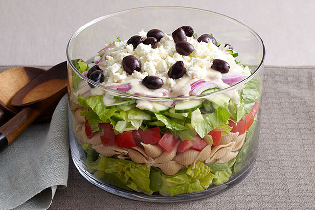 Layered Greek Salad for a Crowd